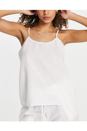 Loungeable Mix and match seersucker pyjama cami in white