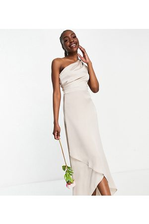 TFNC Tall Ženy Maxi - Bridesmaid one shoulder maxi dress in mink-Pink