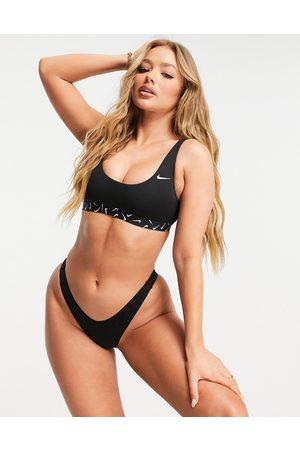 Nike Swoosh taped bikini top in black
