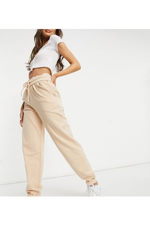 AsYou Low rise roll waist jogger in tan-Brown