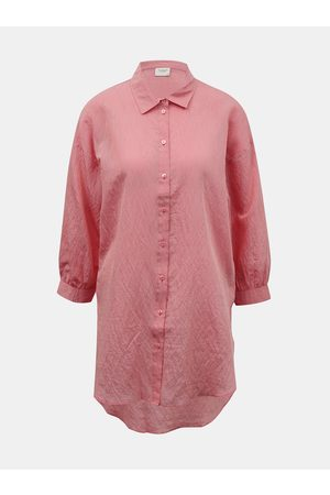 JACQUELINE DE YONG Červené pruhované košilové šaty Dina