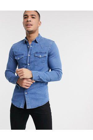 ASOS Skinny fit western denim shirt in mid wash-Blue