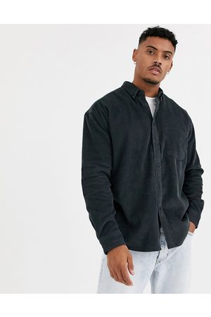 ASOS 90s oversized cord shirt in washed black-Grey