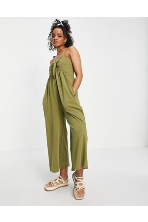 ASOS Ženy Overaly dlouhé - Tie front swing jumpsuit in khaki-Green