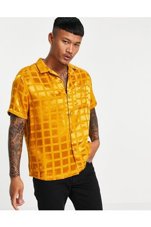 ASOS Relaxed fit satin jaquard shirt in orange check