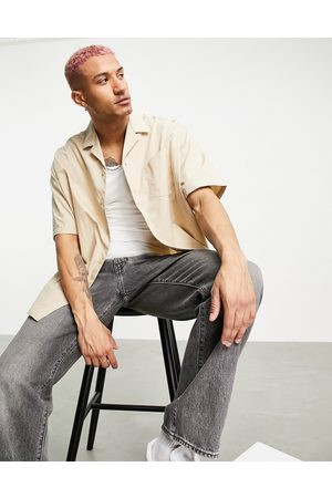 ASOS DESIGN Extreme oversized shirt with half sleeve in stone-Neutral