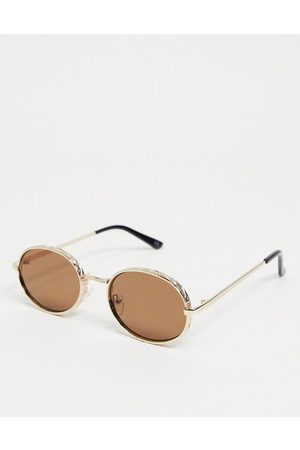 ASOS Decorative detail bevel oval sunglasses in gold