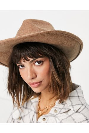 ASOS Felt fedora hat with wide brim in oatmeal-Brown