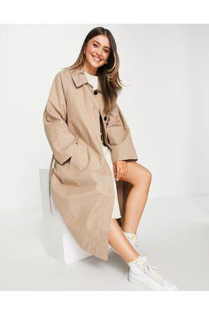 ASOS Sateen detail boyfriend trench coat in mocha-Neutral