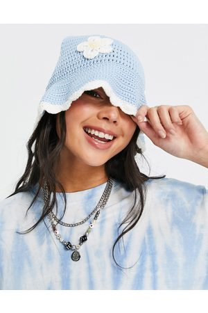 ASOS Crochet bucket hat with daisy embroidery in blue