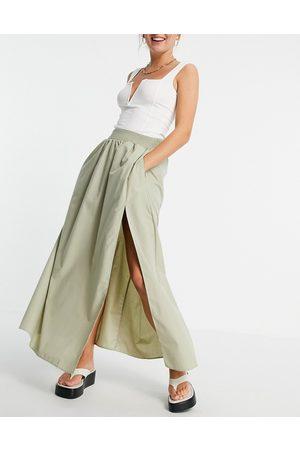 ASOS Cotton maxi skirt with side split detail in khaki-Green