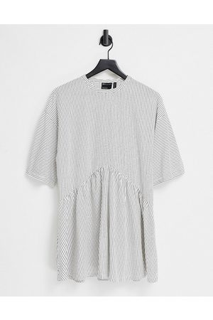 ASOS Oversized mini smock dress with dropped waist in black and white stripe