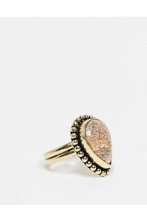 ASOS Muži Prstýnky - Ring with picture jasper semi precious stone in burnished gold tone