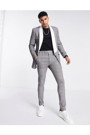 ASOS Skinny puppytooth check tuxedo suit trousers-Multi