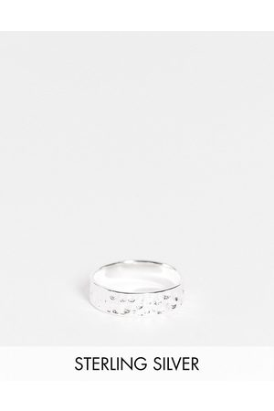 ASOS Sterling silver band ring with hammered texture in silver