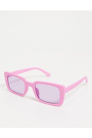 ASOS Mid square sunglasses with metal stud detailing in purple