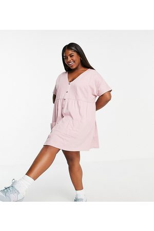 ASOS Curve button through mini smock dress with pockets in rose-Pink