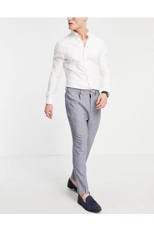 ASOS Muži Úzké nohavice - Super skinny suit trousers in blue nep texture