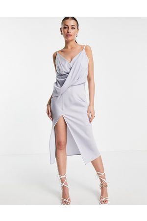 ASOS Drape front midi slip dress with wrap skirt-Blue