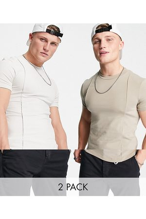 ASOS 2 pack co-ord muscle fit t-shirts with pinktucks in beige-Multi
