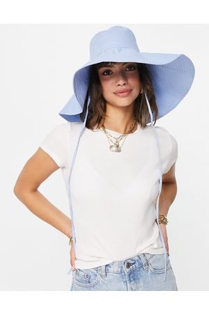 ASOS Oversized quilted bucket hat with undertie in blue