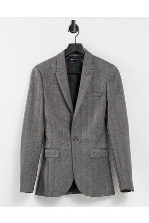 ASOS Muži Saka - Super skinny wool look blazer in grey tweed