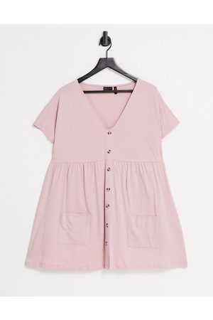ASOS Button through mini smock dress with pockets in rose-Pink