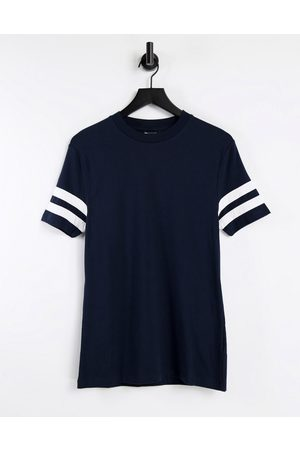 ASOS Skinny t-shirt in navy with contrast sleeve stripes