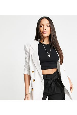 ASOS ASOS DESIGN Tall clean double breasted linen suit blazer in white