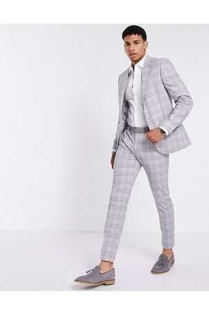 River Island Skinny suit trousers in grey check