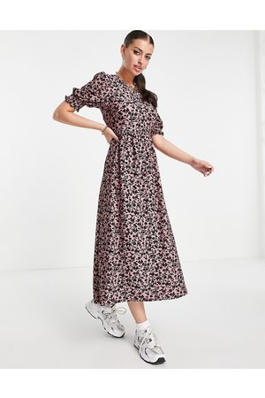 River Island Floral tie back puff sleeve midi dress in pink
