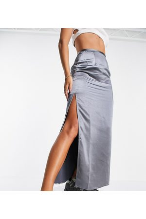COLLUSION Satin maxi skirt with split in grey