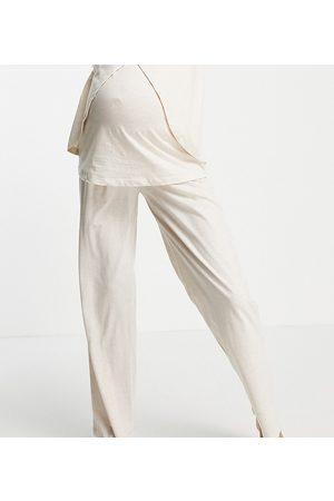 ASOS Ženy Rovné nohavice - ASOS DESIGN Maternity mix & match jersey straight leg pyjama trouser in cream-White