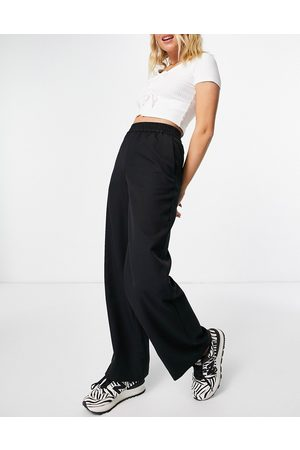 Monki Leika wide leg pull on trousers in black co-ord