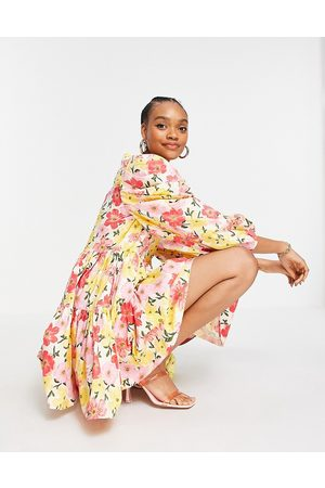 Y.A.S Organic cotton mini dress with exaggerated sleeves in bright floral-Multi