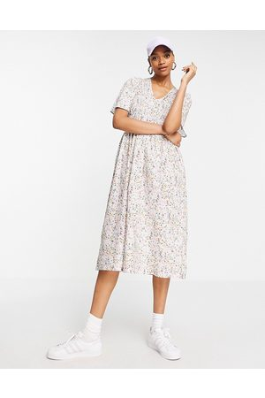 Y.A.S Organic cotton smock midi dress in white ditsy