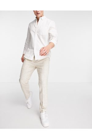 Twisted Tailor Suit trousers in window pane check stone-Neutral