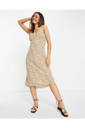 Abercrombie & Fitch Midi slip dress in yellow floral
