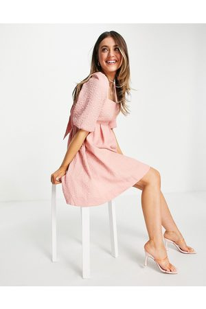 Forever New Baby doll bow back mini dress with puff sleeve in dusty blush-Pink
