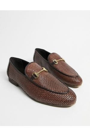 WALK LONDON Jacob woven loafers in tan leather-Brown