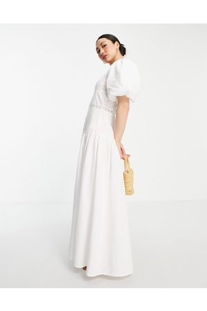 ASOS Ženy Maxi - Pintuck maxi dress with lace insert in white