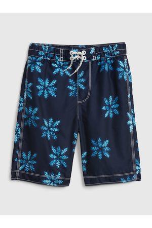 GAP Dívky Jednodílné plavky - Modré klučičí dětské plavky recycled print board shorts