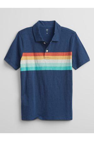 GAP Chlapci S límečkem - Modré klučičí dětské polo tričko stripe polo shirt