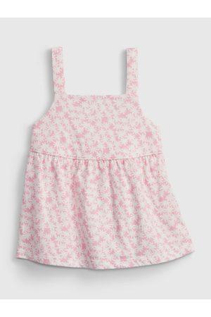 GAP Dívky Se širokými ramínky - Růžový holčičí dětský top peplum knit tank
