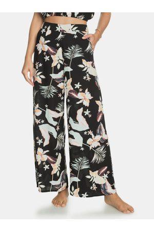 Roxy Ženy Široké nohavice - Černé květované široké kalhoty