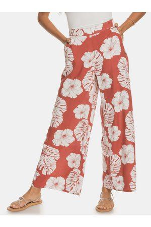 Roxy Ženy Široké nohavice - Cihlové květované široké kalhoty