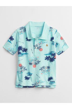 GAP Chlapci S límečkem - Modré klučičí dětské polo tričko print polo t-shirt