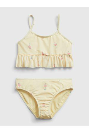 GAP Žluté holčičí dětské plavky recycled flamingo graphic swim two-piece