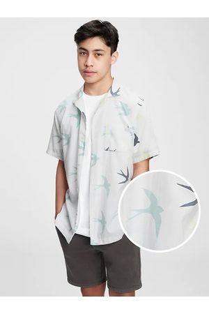 GAP Modré klučičí dětské polo tričko teen camp shirt