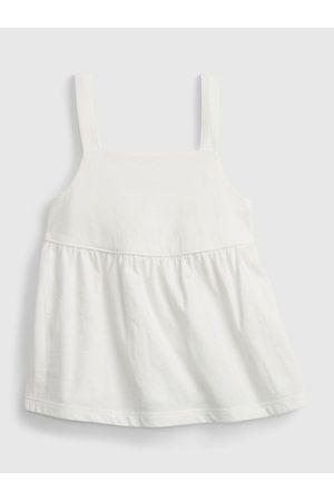 GAP Bílý holčičí dětský top peplum knit tank